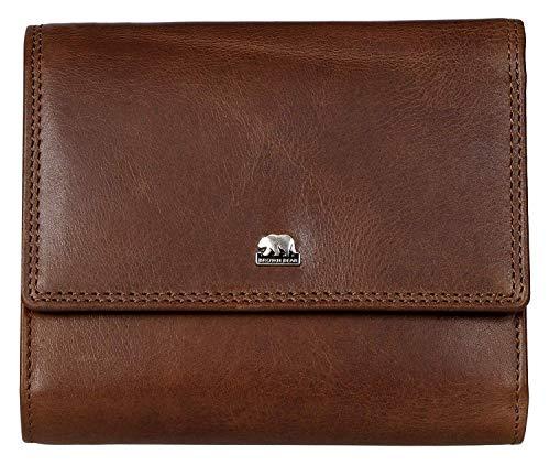 Brown Bear Echtleder Geldbörse Damen Leder Braun Hochformat Überschlag-Börse groß viele Fächer mit RFID Schutz Reißverschluss-Fach und hochwertige Doppelnaht Frauen Portemonnaie Geldbeutel Tbr