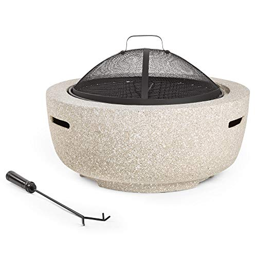 VonHaus Round MgO Fire Pit Bowl with BBQ Grill Rack, Spark Guard & Poker – Outdoor Magnesium Oxide Garden Patio Heater/Burner for Wood & Charcoal