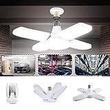 Éclairage de garage à LED, LACYIE 80W 8000LM E27/E26 Lampe d'atelier Déformable à 4 Panneaux Ajustables Super Brillant Plafonnier LED pour Garage,Entrepôt,Atelier,Sous-sol,Cuisine(6000K Blanc Froid)