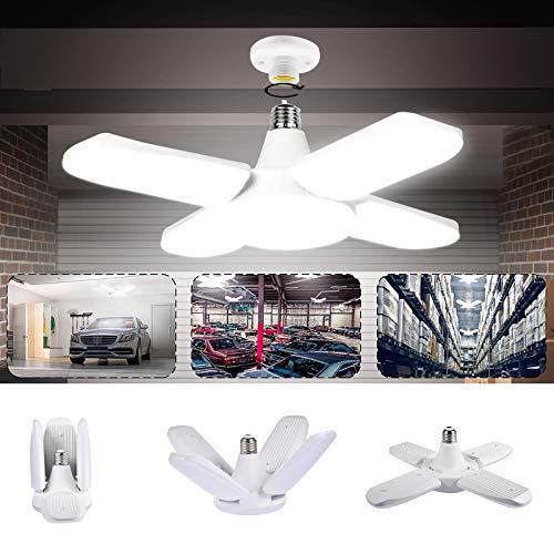 Lampada da Garage a LED, LACYIE E27/E26 80W 8000LM Lampada da Negozio Deformabile con 4 Pannelli Regolabili Plafoniera LED per Garage,Magazzino,Officina,Cantina,Palestra,Cucina (6000K Bianco Freddo)