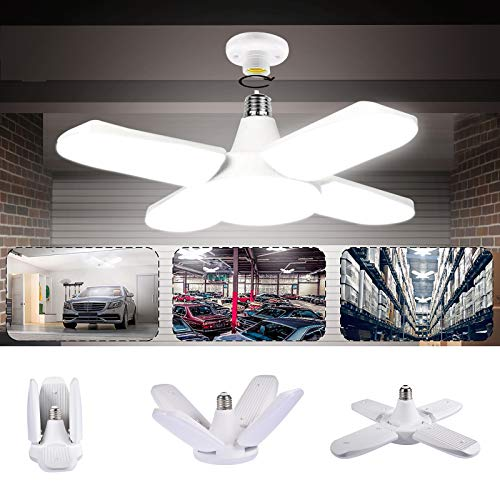 Luz de Techo LED para Garaje, LACYIE Lámpara Deformable Para Taller 80W 8000LM E27con 4 Paneles Ajustables, 6500KLED Lámpara de Garaje para Garaje, Almacén, Taller, Sótano,Gimnasio(80W Blanco frio)