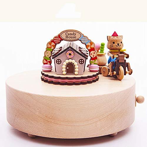 Gatito de madera Mesa giratoria de la música del juguete divertido de la caja de Novia Niños Niño Niña de Año Nuevo regalos de cumpleaños celebración de días festivos de Navidad de madera caja de músi