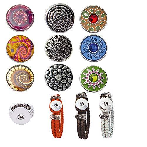 Damen Mädchen, Click-Buttons Druckknöpfe Chunks Set für: Ring, 3xArmband & 9 Klick Buttons. Schmuck Sets sind tolle Schwester /Oma / Mama Geschenk beste Geschenke für Frauen