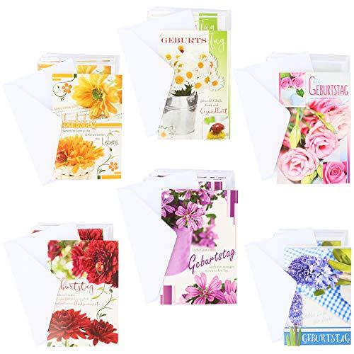 COM-FOUR® 100x wenskaarten voor verjaardagen - verjaardagskaarten met verschillende motieven - kaarten met enveloppen (Verjaardagskaart bloemen - 100 stuks)