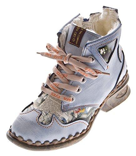 TMA Leder Damen Winter Stiefeletten Comfort Knöchel Schuhe 5171 Hell Blau Boots gefüttert Gr. 37