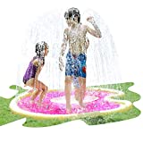 AirMyFun Donuts Sprinkle & Splash Play Mat, Fun Outdoor Party Sprinkler Toy for Kids, Splash Pad Sprinkler for Toddlers Playing Water, Sprinkler Pad with Dessert Theme