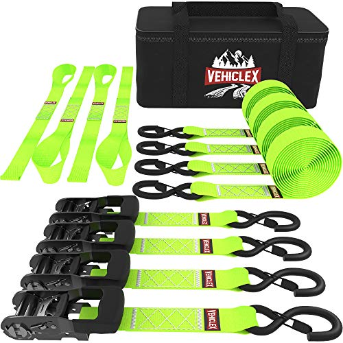 """Heavy Duty Ratchet Strap – 1.5"""" x 8 ft – (4PK Green) Premium Tie Down Straps & Soft Loops for Moving & Securing Cargo – Vinyl Coated Deep S-Hook & Extra Safety with Lockable Release"""
