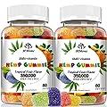 2 Pack Hemp Gummies Organic - 350,000mg Extra Strength, 80ct - for Anxiety & Stress Relief - Better Sleep - 100% Natural, Vegan, Non-GMO, Gluten-Free