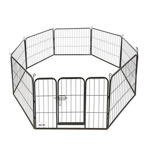 MaxxPet - Welpenauslauf mit 8 Zwingerelementen - Faltbarer Hundeauslauf aus hochwertigem Stahl - Zaun für Hunde, Welpen & andere Haustiere - Verstellbares Freilaufgehege (80x60cm) - Ø210cm Schwarz
