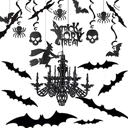 Ucradle Halloween Hängende Dekorationen, Halloween Deko Hexe, Spukhäuser Halloweenstoff Garten Aussen, Dekoration der Kronleuchter Fledermaus Krähe Spinne Schädel für Haunted Haus Dekoration