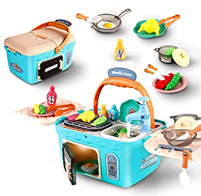 F4GoGo Kids Picnic & Kitchen Playset,Portable Picnic Basket Toys with Music's & Lights,Color Changing Play Foods,Pretend Play Oven and Kitchen Accessories Vegetables and Fruits Toys for Girls Boys