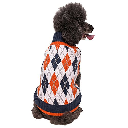 Blueberry Pet 2 Patterns Chic Argyle All Over Dog Sweater in Midnight Blue and Dark Princeton Orange, Back Length 20