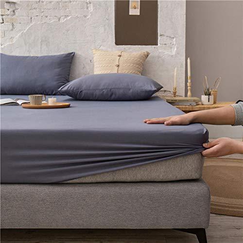 FJMLAY Sábanas de Cama Transpirable,Sábanas Ajustables de Algodón de Color Puro, Protector Antideslizante para Alfombrilla para Dormitorio Apartment-Grey_2_180cmx200cm
