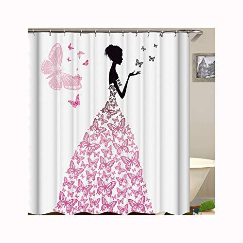 DOLOVE Lustiger Duschvorhang Antischimmel Mädchen Mit Schmetterlinge 3D Duschvorhang Für Badewanne Badewannenvorhang Anti-Schimmel 165X180 cm