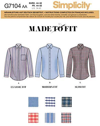 Simplicity Schnittmuster, 7104.BB -Herrenhemd selber nähen [Herren, Gr. 52-60] auch für Anfänger geeignet