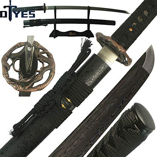 DTYES Full Handmade Japanese Samurai Katana Sword (Damascus Steel Blade-Red Snake Tsuba)