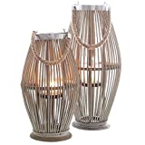 Annastore Laterne aus Bambus mit Henkel und Glaszylinder H 40 bis 74 cm - Bambuslaterne Windlicht aus Bambus Gartenlaterne Größe H 50 cm