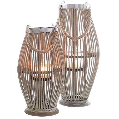 Annastore Laterne aus Bambus mit Henkel und Glaszylinder H 40 bis 74 cm - Bambuslaterne Windlicht aus Bambus Gartenlaterne Größe H 40 cm