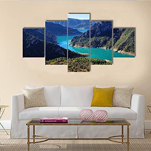 Cuadro en Lienzo, Lona Arte de Pared, 5 Piezas, Espectacular acantilado con caudal de río,Comedor Baño Oficina Decoración para Dormitorio