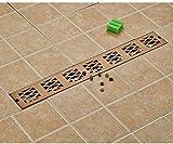 YYALL Desagüe de piso Relleno de piso con fugas rectangulares rectangular para piso de baño en oro rosa 70 cm