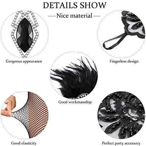 1920s Flapper Accessories Headband Necklace Gloves Holder Fishnet Set for Women