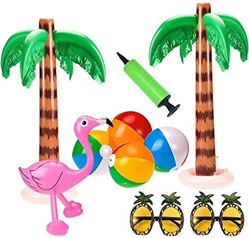CMTKJ Suministros inflables de fiesta de Hawaii, árbol de coco, flamenco, bola de playa, decoración al aire libre (10 piezas/juego)