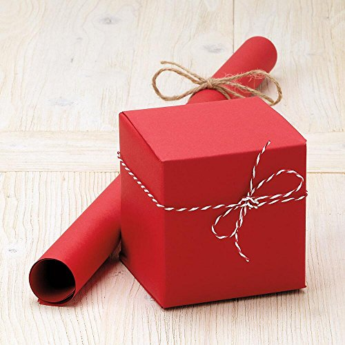 Red Plain Kraft Jumbo Roll Gift Wrap - 67 sq ft, Heavyweight, tear-resistant wrapping paper for Christmas, Valentines Day, All Occasion Crafts