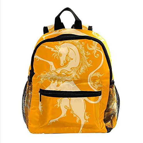 Unicornio Amarillo Mochila Ligera para niños Mochila Escolar para niños pequeños Mochila Duradera para Libros Casuales para niñas y niños 25.4x10x30cm