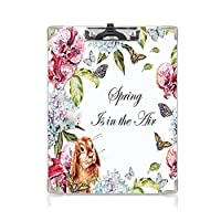 クリップボード 春 ミニバインダー ヒヤシンスの花ウサギ蘭の葉植物学ブーケ水彩画アートマルチカラー 用箋挟 クロス貼 A4 短辺とじ