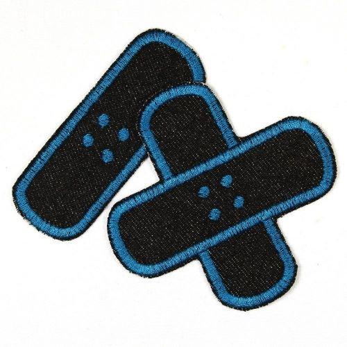 Flicken zum aufbügeln Pflaster Bügelflicken Jeans schwarz petrol Aufbügler Patches Set klein mittel 2 Hosenflicken schlichte Applikationen als Bügelbilder und Aufbügler für Erwachsene