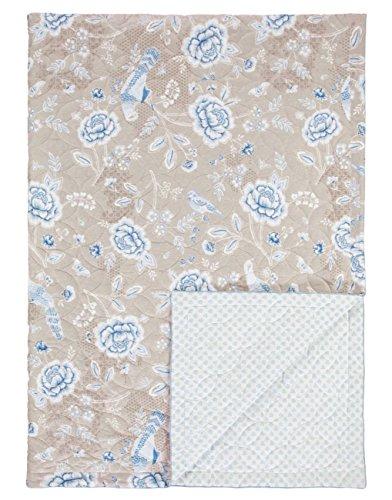 Pip Studio Tagesdecke Indian Rose I Farbe Khaki I 270x260 cm I Blumenmuster I Polyesterfüllung I Bezug reine Baumwolle