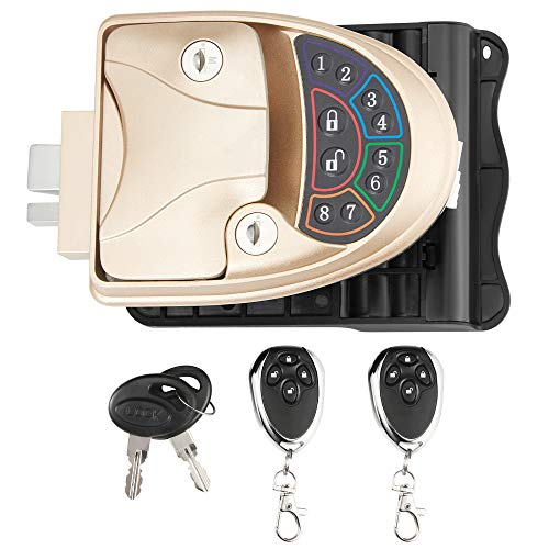TTLIFE Cerradura puerta sin llave Aleación de zinc IP65 Cerradura dígitos con código a prueba agua 20m Cerradura electrónica con batería control remoto inalámbrico para remolques, autocaravanas