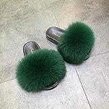 Kirin-1 Chanclas Mujer Piscina,Zapatillas mullidas Mulas difusas-36_Verde