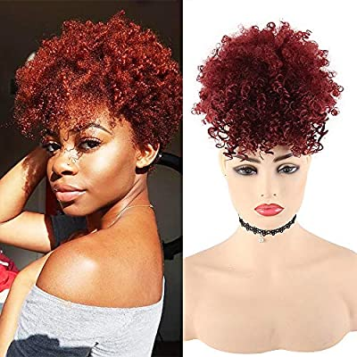 LEOSA Wig Afro Puff Drawstring Ponytail Bun with Bangs Heat Resistant Synthetic Short Kinky Curly Ponytail Updo Hair Extensions with Two Clips,Natural looking Curly Women Hairpieces
