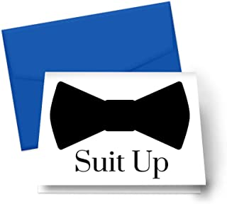 Suit Up Cards with Royal Blue Envelopes (8 Pack) Proposal Ideas Ask Groomsmen, Best Man, Ushers, Guest of Honor, Father of Bride, Wedding Attendants, Engagement Party Supplies