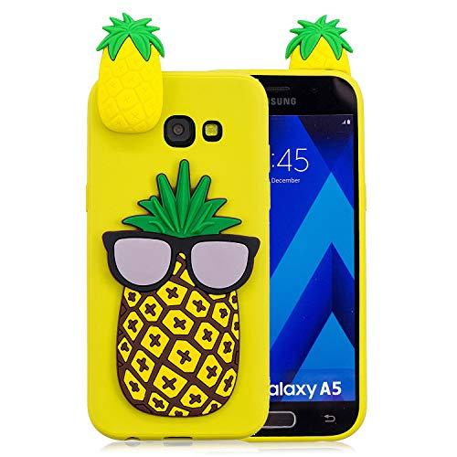 Huphant Samsung A5 2017 hülle, Samsung Galaxy A5 2017 hülle Silikon, Case Handyhülle Samsung Galaxy A5 2017 Schutzhülle Pineapple,Ultra dünn Tasche Stoßdämpfend Schutzhülle Galaxy A5 2017 -Ananas