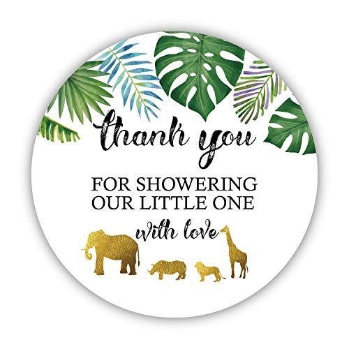 50 Jungle Gold Baby Shower Stickers, Thank You for Showering Our Baby with Love Stickers, Baby Shower Favors for Boy or Girl, Baby Shower Favor Labels for Birthday Party, 2 Inches
