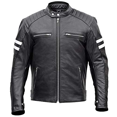 Men Classic Leather Motorcycle Jacket with Lifetime Leather Warranty MBJ032 (2XL)