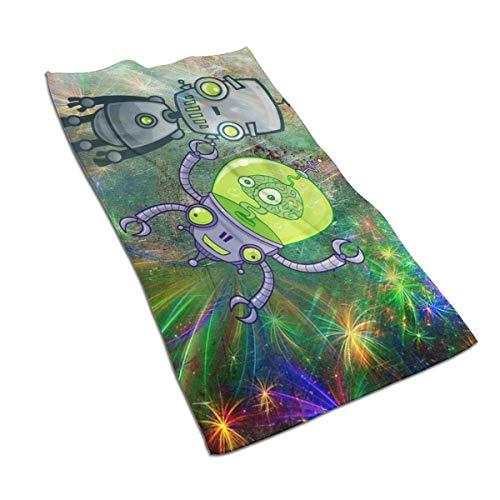 QHMY Robot Forward Comic Zeichnung Science Fiction Alien Mikrofasertücher 27,5 'x 17,5' Polyester Persönlichkeit Lustiges Muster Super Absorbent für Badezimmer, Küche, Waschauto, Reinigungstuch