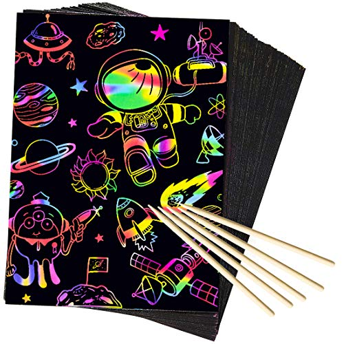 AxPower 50 Piece Rainbow Scratch Paper Art Set Magic Black Scratch Paper Scratch it Off Art Crafts Notes Sheets Cards with 5 Wooden Styluses for Easter Party Game Christmas Birthday Gift