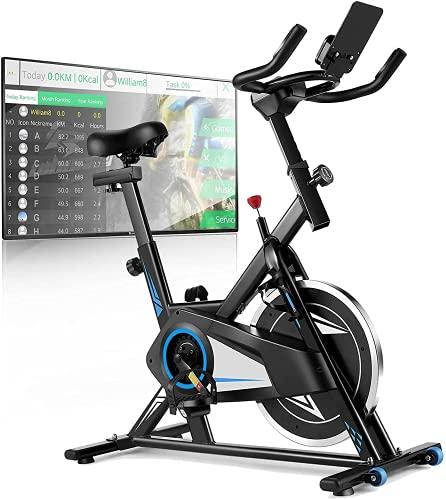 Profun Cyclette Fitness Professionale, Volano da 16/22 kg, App di Connessione, Display LCD, Resistenza Regolabile / Sella / Manubrio, Usato per la Casa.