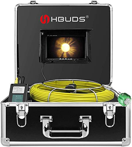 Sewer Camera, IHBUDS 20M/65Ft Pipeline Inspection Camera Drain Sewer Industrial Endoscope Video Plumbing System with 7 Inch LCD Monitor Snake Cam HD Video Waterproof Pipe Camera (20M Without DVR)