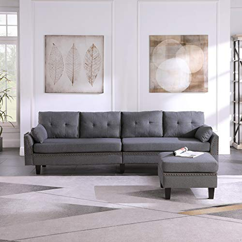 Eishi Convertible Sofa Couch L Sofa 4-seat Sofas Sectional for Apartment Living Room Creative Sectional Couch