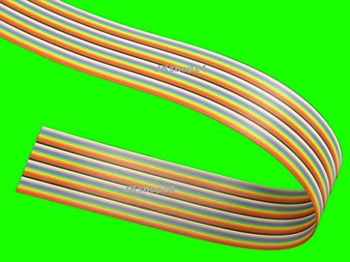 FLACHBANDKABEL 40-Adrig/Polig/Pin | Meterware (EUR 4,99/m) | FLACHBANDLEITUNG-AWG28 im 1,27mm-Raster (Pitch) | Farbige FBL/Rasterstegleitung mit IEC-Ader-Farbfolge|Flache,flexible,Band-Leitung/Kabel