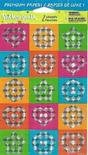 American Greeting Inc. Prismatic Shiny Heart Star Flower 3D Effect Stickers Stickety-Doo-Da Stickers Acid Free 2 Sheets