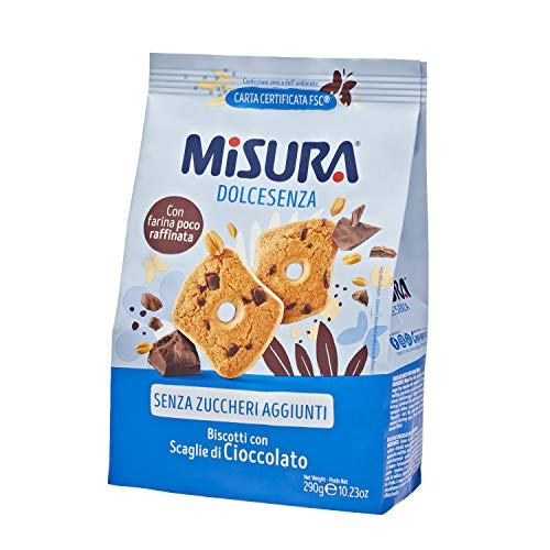 Misura Dolcesenza Biscotti con Scaglie di Cioccolato   Senza Zuccheri Aggiunti   Confezione da 290 grammi