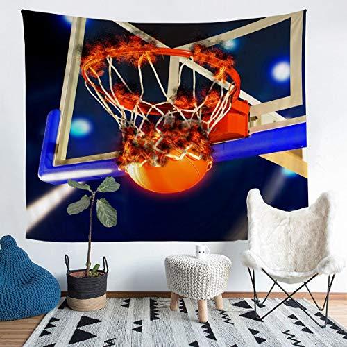 Loussiesd Tapiz de baloncesto con temática de deportes para niños y adultos, patrón de bola para colgar en la pared, atleta competitivo, manta para decoración de habitación, tamaño grande de 152 x 201
