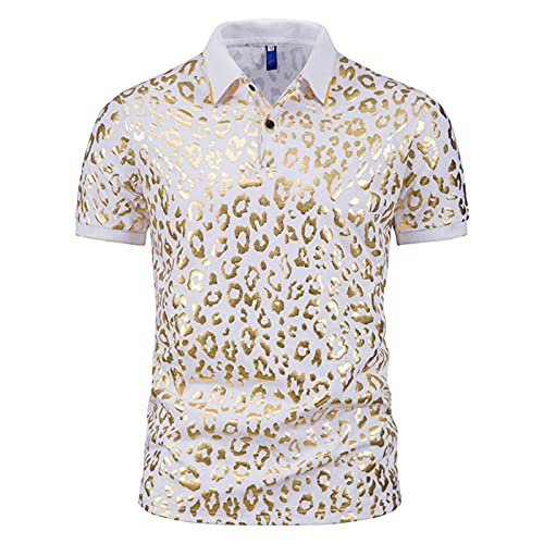 Camisa de verano para hombre, de Star Chain Bronzing Print, camisa polo de manga corta con solapas, corte ajustado, para tiempo libre H blanco L