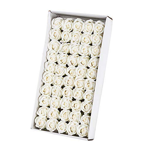 TOOGOO 50Pcs Floral Parfumée Savon De Bain Rose Pétales De Fleurs Plante Huile Essentielle Savon Ensemblede Bain en Forme Cadeaux De Fête De Mariag Blanc