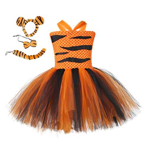 Fenical Costume da Bambina per Bambini Costume da Tigre Gonna Tutu Orecchie da Tigre Fascia E Farfallino per 3-4 Anni